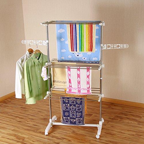 Mobiler Wäscheständer klappbar Wäschetrockner-Turm Seitenflügel auf 3 oder 4 Ebenen (3 Ebene)