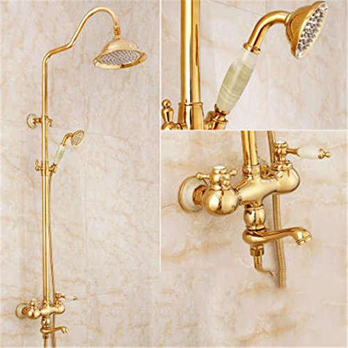 Preisvergleich Produktbild KVM@D Home Wasserhahn Continental Full Kupfer Titan Gold und kalt Wasser Dusche Set