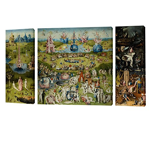 Fajerminart 3 Panel Cuadro De Madera Pintura - Famous The Garden Of Earthly Delicias Cielo / Mundo / Infierno Canvas Replica, Paintings Wall Art, Canvas Arte Sala De Estar, Dormitorio, Office Wall Painting, Living Room Decoration Estirar Sobre Marco Total Size 130x70cm Ready To Colgar (30x70cm + 70x70cm + 30x70cm) (Marco De Madera)