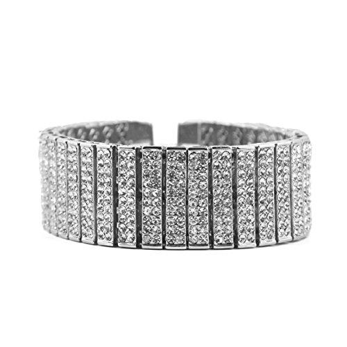 Punk Rock Hip-Hop Reihe 8 Kristall Diamant Armbänder Herren-Armbänder,Silver-M