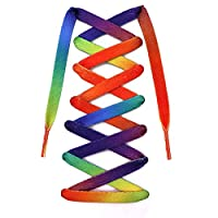 Teeoff Flat Printed Shoelaces,Shoe Laces for Sneakers, Designer Fun Shoestring (120 CM, Rainbow Gradient)
