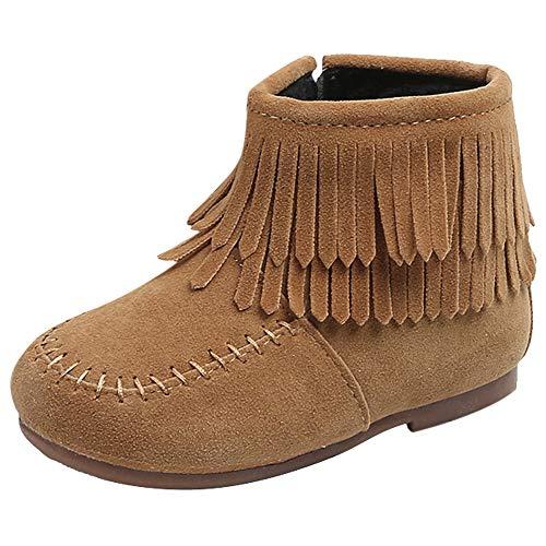 OHQ Mädchen Ankle Boots Stiefel mit Fransen Kinderstiefel Winterstiefel Schneestiefel Warme Weiche Winterschuhe Boots Schneestiefel für Kinder Baby Stiefel Lammfellschuhe