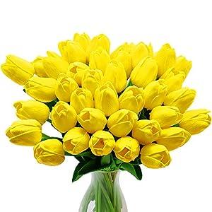 CattleyaHQ Flores de tulipán Artificiales, 10 Piezas de Tulipanes Reales con Hojas, decoración para Banquete de Boda…