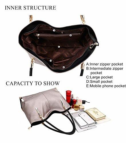MATAGA Damen Handtasche Leder Umhängetasche Reißverschluss Schultertaschen Große weibliche Totes Taschen für Damen Shopper JHFX938032 (Grau) Schwarz