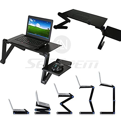 Upgrade Laptop Bed Tray Table w/ Mouse Pad - 48CM, Adjustable Laptop Stand, Portable Standing Desk, With Foldable Legs, Foldable Sofa Breakfast Table, Notebook Stand Reading Holder For Couch Floor Kids - Price Xes (BLACK)