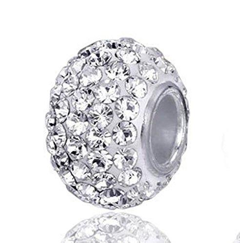 Andante-Stones 925 Sterling Silber Kristall Bead Charm White Princess Element Kugel für European Beads mit Organzasäckchen