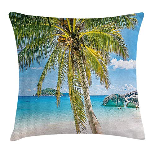 ERCGY Palm Tree Decor Throw Pillow Cushion Cover by, Wonders of The World Beach Scene with Rocks and Swimming People Image, Decorative Square Accent Pillow Case, 18 X 18 Inches, Turquoise Green Navy Clara Slip