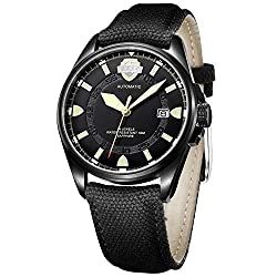 BUREI Mens Luminous Automatic Watch Black with Date Sapphire Crystal Glass and Canvas Fabric Strap