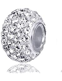 """Andante-Stones perle en cristal Bead Argent original et massif Stering 925 """"White Princess"""" Élément Bille pour perles European Beads + Étui en organza."""