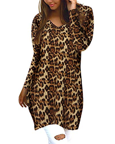 Style Dome Leopardo Jerseys de Punto Mujer Largos Cuello V Manga Larga Otoño Vestidos Sudadera Casual Tallas Grandes Suéter Suelta Amarillo Oscuro L