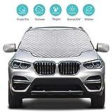 Karvipark Auto Frontscheibenabdeckung, Magnetisch Windschutzscheibe Abdeckung mit Seitenspiegelabdeckung,Frontscheibe für Winter Schneeabdeckung und Scheibenwischer UV-Schutz-SUV-Modell (157×126cm)