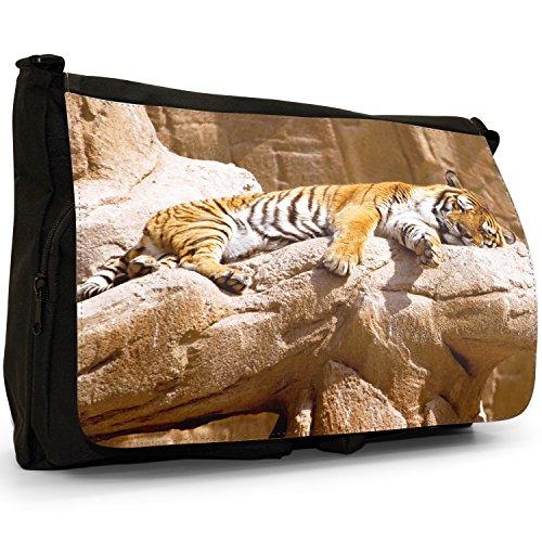Selvatici Tiger–Borsa Tracolla Tela Nera Grande Scuola/Borsa Per Laptop Tiger Sunbathing On Rock Salida 2018 Nueva Venta Barata Sitio Oficial aPDMAD0fZ