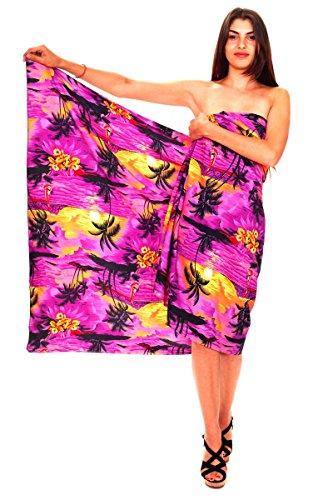 (V.H.O. Funky Hawaii Sarong Lang, Surf, Violett)