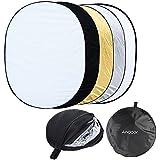 Andoer 35 x 47 pouces Reflecteur 5 en 1 pliable ovale pour studio photo 90 x 120cm