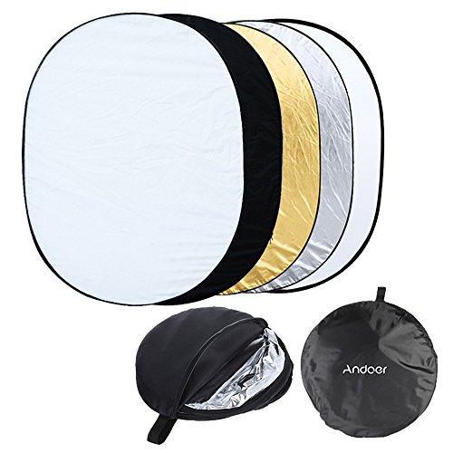 Andoer 35 x 47 inch (90 X 120cm) 5 in 1 Multil Fotografie Studio Zusammenlegbarer klappbar Fotografiereflektor Licht-Reflektor Oval