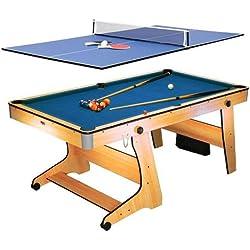 Riley Mesa de billar y ping pong Riley FP-6TT (2 en 1, sistema plegable con ruedas, accesorios incluidos)