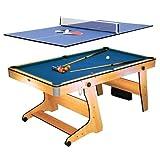 Riley FP-6TT • 2 in 1 Multifunktionsspieltisch • Pool-Billardtisch • Tischtennis • Klappsystem • Bodenrollen • Spielzubehör • Queues • Kugeln • Bälle • Schläger • Tischtennis-Plattenaufsat • buche