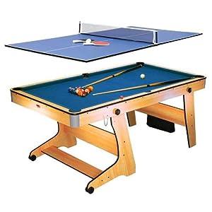 Riley FP-6TT – 2-in-1 Multifunktionsspieltisch, Pool-Billardtisch, Tischtennis, Klappsystem, Zubehör, Queues, Kugeln, Bälle, Schläger, buche