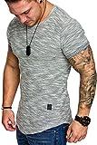 Amaci&Sons Oversize Vintage Herren Shirt Sweatshirt Crew-Neck 6023 Grau M