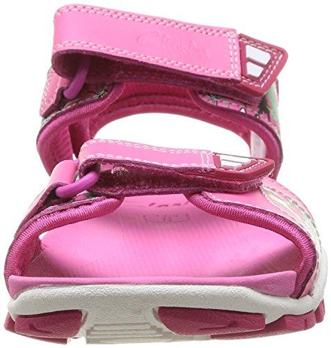Clarks Zalmo Word, Sandales fille Rose (Pink Combi)