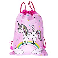 """LOKIPA 10 Unicorn Party Bags Drawstring Gift Goodies Bags for Girls Birthday Party Favors 13.4""""*10.6"""""""