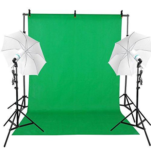 BPS 1250W Ombrello Set-Studio Fotografico Professionale Diffusori Illuminazione Continuo Kit con Sfondo Supporto / Sfondo Di 6x3m -Tessuto non tessuto- Verde/2xLampadina-5500K/2x Supporto Lampadina/2x Ombrello Morbido