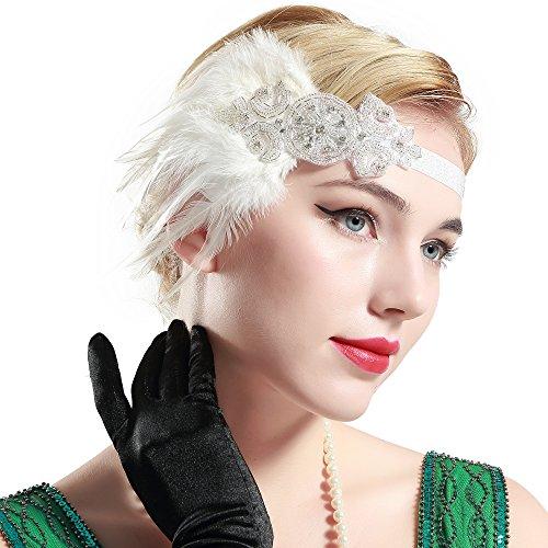 ArtiDeco 1920s Stirnband Damen Gatsby Kostüm Accessoires 20er Jahre Flapper Feder Haarband -