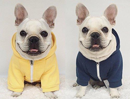 Moolecole Zip-up Kapuzenpullover Haustier Kostüm Hund Kleider Outfit Komisch Haustier Bekleidung Für Französisch Bulldogge Und Mops Dunkelblau 2XL - 2