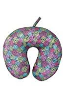 Mountain Warehouse Micro Bead Travel Pillow - Patterned - Compact & Perfect for Travel with Super Fine Micro Bead Filling & Soft Fleece & Spandex Covering Pink