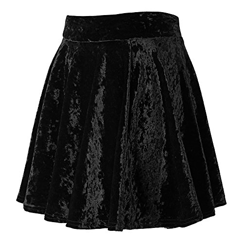 Urban GoCo Donna Vintage Svasata Mini Gonna da Pattinatrice Versatile Elastica di Velluto Gonna #2 Nero