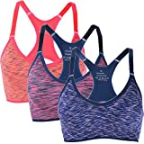 Jewelry_Awesome Womens Strech Ohne Buegel Push up Yoga Sports BH Bra Top Set Fuer Fitnesstraining Polsterung 3er pack Size M (S, Rot+Orange+Blau)