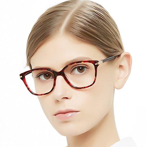 OCCI CHIARI Brillenrahmen rechteckig stilvoll Brillenrahmen farbige Brillenfassung nicht druckbare Brillen mit klaren Gläsern Geschenke für Frauen Gr. 53-17-140, F-red Demi