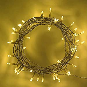 Shatchi 6226-LED-BATTERY-LIGHTS-WARM-WHITE-40 - Guirnalda de 40 luces LED de color blanco cálido, funciona con pilas, guirnalda de luces, decoración para bodas, fiestas de cumpleaños