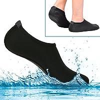 Calcetines de agua para mujer y hombre, calcetines de conducción para niños, extra cómodos – protege la arena de repente, agua fría/caliente, UV, rocas y guijarros – calzado de ajuste fácil para natación, voleibol de playa, esnórquel, vela, surf, yoga, caminar, etc. XXL (EE. UU. 10,5 – 11,5 EUR 45 – 47) (negro)