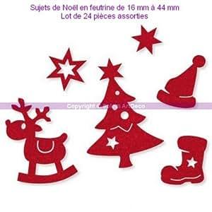 Sujets de Noël en feutrine rouge, Renne, Bonnet, Botte, Etoile, Sapin, 10-60 mm, 24 pièces