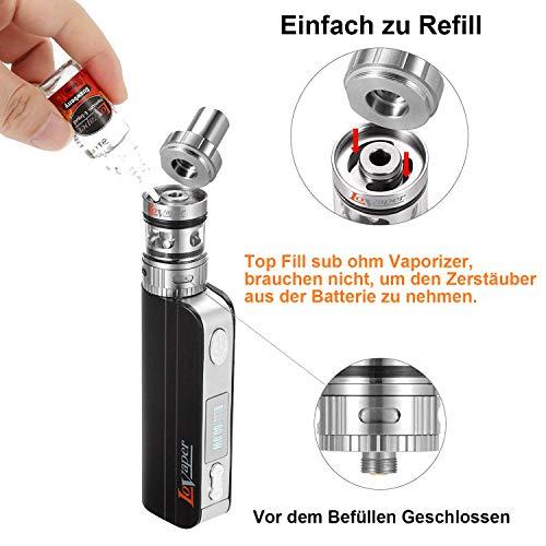 E Zigarette Starter Set LoVaper 60W Box Mod kit, 2200mAh Akku,Top Refill 0.3ohm/2.0ml Verdampfer kopf Tank,TC(Temperaturregelung) Box Mod mit 18650 Batterie,E Shisha Ohne Liquid
