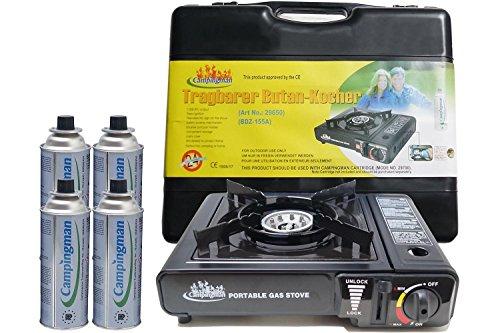 Campingman Gaskocher Campingkocher mit Koffer Portable + Gaskartuschen (Gaskocher + 4 Gaskartuschen)