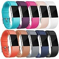 HUMENN Correa para Fitbit Charge 2, Edición Especial Deportes Recambio de Pulseras Ajustable Accesorios para Fitbit Charge 2 Pequeño #A 10-Pack