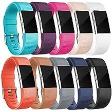 Fitbit Charge 2 Correa, HUMENN Edición Especial Deportes Recambio de Pulseras Ajustable Accesorios para Fitbit Charge 2 Pequeño #A 10-Pack