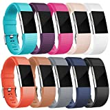 HUMENN For Fitbit Charge 2 Strap, Charge 2 Bands Adjustable Replacement Sport Accessory Wristband for Fitbit Charge2 Fitness Tracker Small 10 Colours