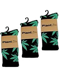 3x PlantLife Calcetines/Medias - Tamaño Unico- negro/verde