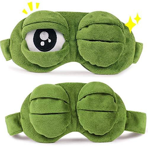Máscara de Ojos para Animales dormidos, Rana Verde de Dibujos Animados, Cubierta de Ojos Lindos, Triste máscara de Ojos 3D, Descanso para Dormir, sueño, Regalo Divertido para niños Adultos