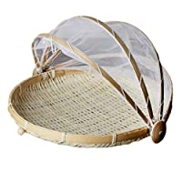 Tubayia Hand-Woven Bamboo Covered Serving Food Tent Basket with Gauze Fruit Vegetable Bread Cover Tray Outdoor Picnic Tent Basket