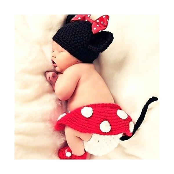 Isuper Lindo bebé infantil Ratón Traje Foto Fotografía Prop 0-6 meses Recién nacido Rojo 4