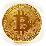 HLHN Bitcoin Coin, Copper Plated BTC Coin Art Collectible Gift Home Decoration Physical (Gold, 2Pcs)
