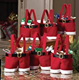 insieme di 6 decorazioni di Natale Babbo pantaloni borsa del regalo, sacchetto della caramella