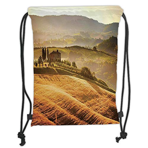 LULUZXOA Gym Bag Printed Drawstring Sack Backpacks Bags,Tuscan,Siena Tuscany Retro Farm House Trees Old Path Country Landscape on Sunset,Ginger and Green Soft Satin,Th - Country Path Light