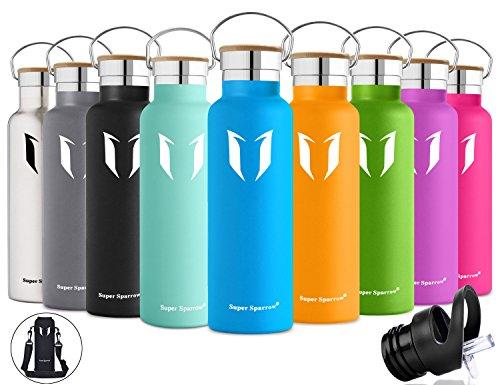Super Sparrow doppia parete in acciaio inox coibentato bottiglia di acqua - 500ml & 750ml &1000ml - isolante della borraccia con 100% di garanzia di soddisfazione | perfetto Thermos per la Corsa, fitness, Yoga, all' aperto e Camping, Auto o in movimento | Privo di BPA, BPS, ftalati | Die sano Art bevanda | Ideale come acqua & Sport bottiglia - con 2 Cappucci intercambiabili (Blu mare, 500ml-17oz)