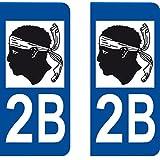 2 Stickers Autocollant style Plaque Immatriculation département 2B