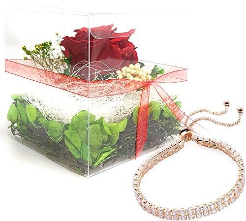 Rosen-te-amo Rosen-Box Set INKLUSIVE Schmuck – Konservierte Rose eine ECHTE Blume in der Box, 3 Jahre lang haltbar dabei ein Armband mit zwei Zirkonia Reihen als Geschenk für den Muttertag